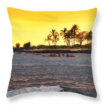 Canoe On Kona Coast Throw Pillow by Athala Carole Bruckner