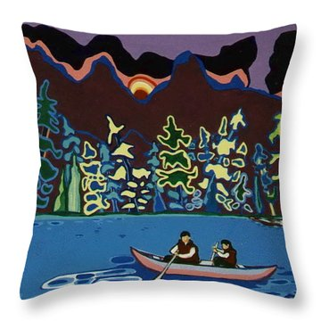 Canoe On Lightning Lake Throw Pillow