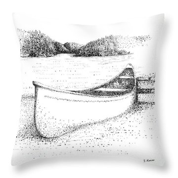 Canoe On The Beach Throw Pillow by Steve Knapp