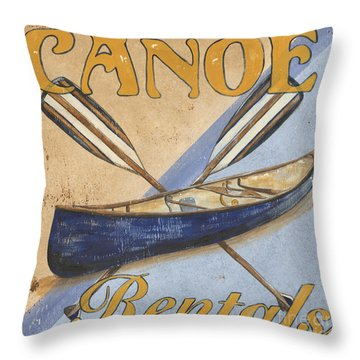Canoe Rentals Throw Pillow