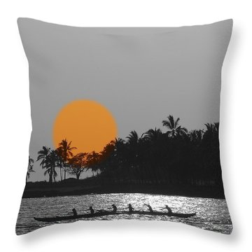 Canoe Ride In The Sunset Throw Pillow by Athala Carole Bruckner