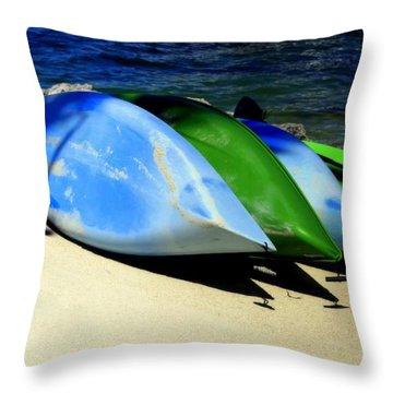 Canoe Shadows Throw Pillow by Karen Wiles