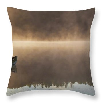 Canoeist On A Golden Misty Morning Throw Pillow by Barbara McMahon