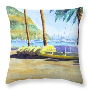 Canoes And Surfboards In The Morning Light - Catalina Throw Pillow