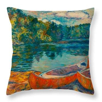 Canoes At Mountain Lake Throw Pillow