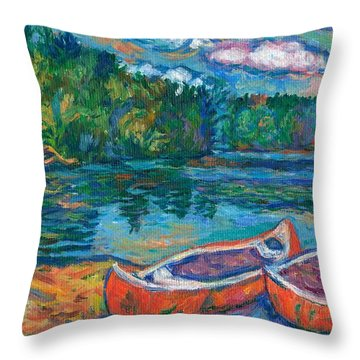 Canoes At Mountain Lake Sketch Throw Pillow by Kendall Kessler
