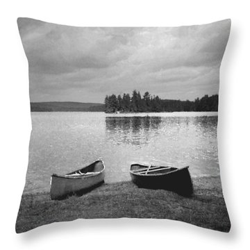 Canoes - Canisbay Lake - B N W Throw Pillow