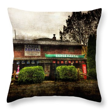 Canoes For Rent Throw Pillow by Dan Friend