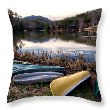 Canoes In Nc Throw Pillow