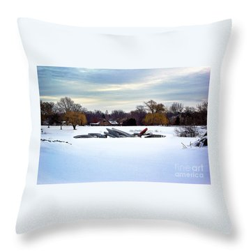 Canoes In The Snow Throw Pillow
