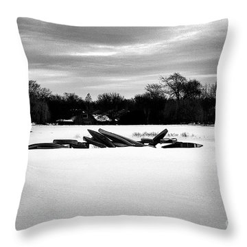 Canoes In The Snow - Monochrome Throw Pillow