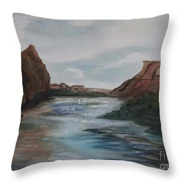 Throw Pillow featuring the painting Canyon De Chelly by Ellen Levinson