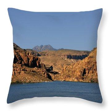 Canyon Lake Of Arizona - Land Big Fish Throw Pillow by Christine Till