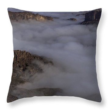 Canyon Rims Float In Fog Throw Pillow