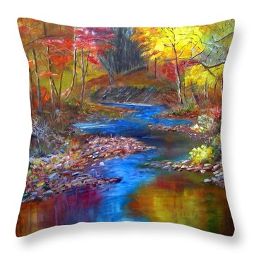 Throw Pillow featuring the painting Canyon River by LaVonne Hand