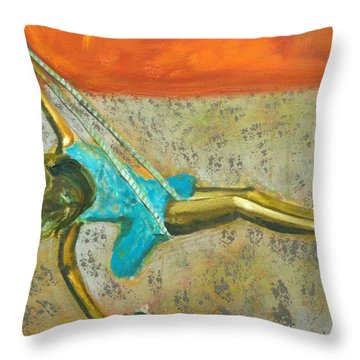 Throw Pillow featuring the painting Canyon Road Sculpture by Keith Thue