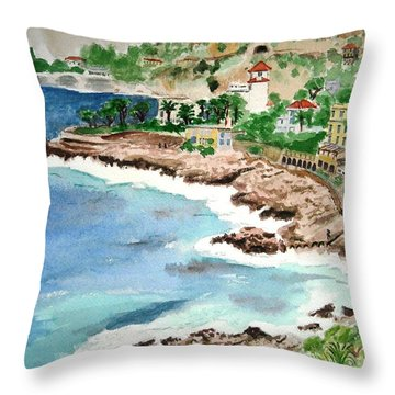 Cap D'ail On A Rainy Day Throw Pillow