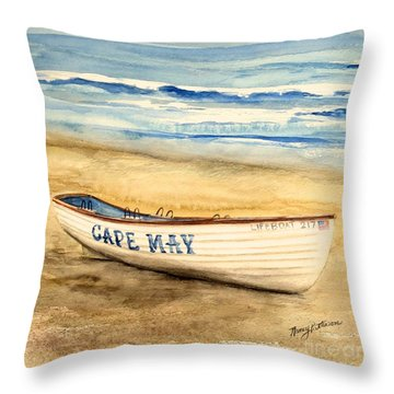 Cape May Lifeguard Boat - 2 Throw Pillow