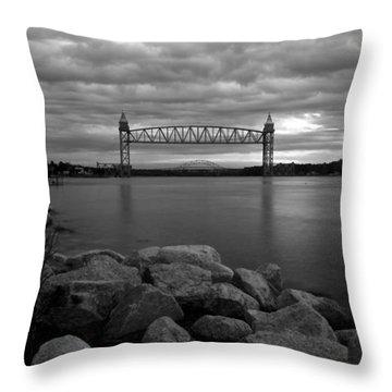 Cape Cod Canal Train Bridge Throw Pillow