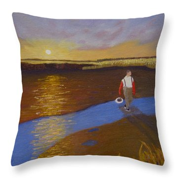 Cape Cod Clamming Throw Pillow