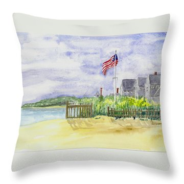 Massachusetts -cape Cod Cottages Throw Pillow