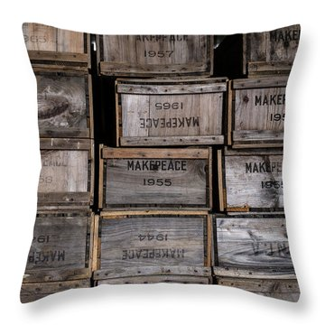 Cape Cod Cranberry Crates Throw Pillow by Andrew Pacheco
