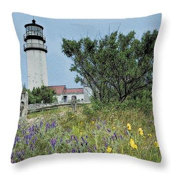 Cape Cod Lighthouse Throw Pillow by John Haldane