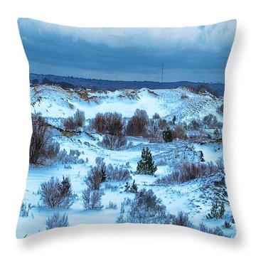 Cape Cod Snow Covered Dunes Throw Pillow by Constantine Gregory