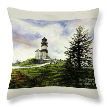 Cape Disappointment Lighthouse On The Washington Coast Throw Pillow