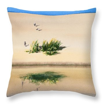 Cape Dune Watercolor Throw Pillow by Michelle Wiarda