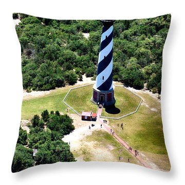Cape Hatteras Lighthouse From Above Throw Pillow by Tony Cooper