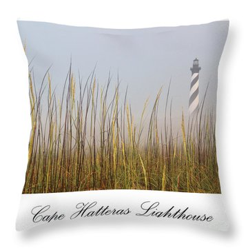 Cape Hatteras Lighthouse In The Fog Throw Pillow by Tony Cooper