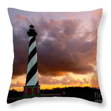 Cape Hatteras Sunset Throw Pillow by Nick Zelinsky