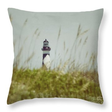 Throw Pillow featuring the photograph Cape Lookout Lighthouse - Vintage by Kerri Farley