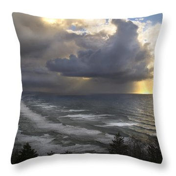 Sunset At Cape Lookout Oregon Coast Throw Pillow