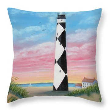 Cape Lookout Sunset Throw Pillow by Fran Brooks