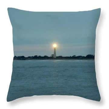 Throw Pillow featuring the photograph Cape May Beacon by Ed Sweeney