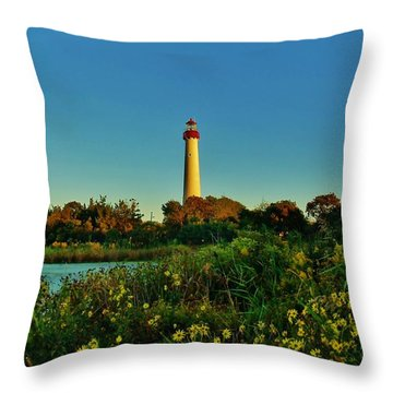 Cape May Lighthouse Above The Flowers Throw Pillow