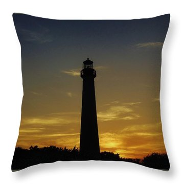 Throw Pillow featuring the photograph Cape May Lighthouse At Sunset by Ed Sweeney