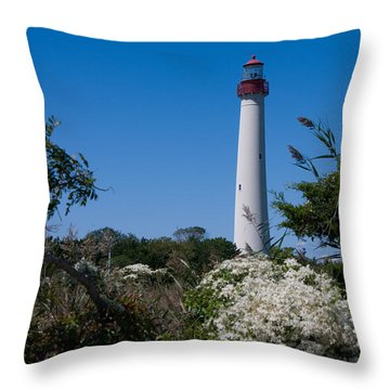 Throw Pillow featuring the photograph Cape May Lighthouse by Greg Graham