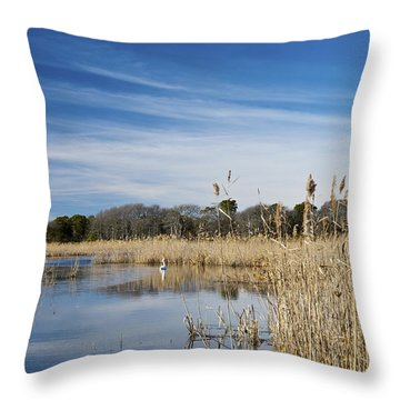 Cape May Marshes Throw Pillow by Jennifer Ancker
