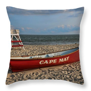 Cape May N J Rescue Boat Throw Pillow