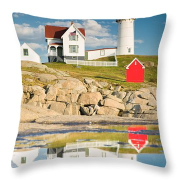 Cape Neddick Light  Reflections Throw Pillow