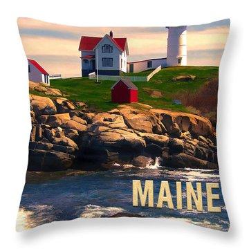 Cape Neddick Lighthouse Maine  At Sunset  Throw Pillow by Elaine Plesser