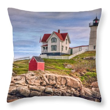 Cape Neddick Nubble Lighthouse II Throw Pillow by Clarence Holmes