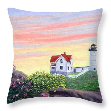 Cape Neddick Sunrise Throw Pillow by Fran Brooks