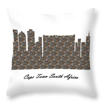 Cape Town South Africa 3d Stone Wall Skyline Throw Pillow