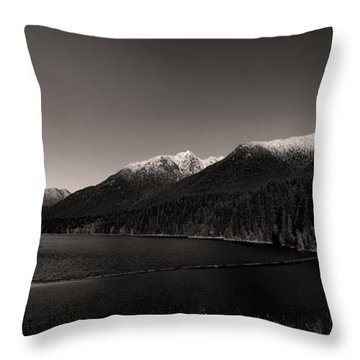 Capilano Dam In Black And White Throw Pillow