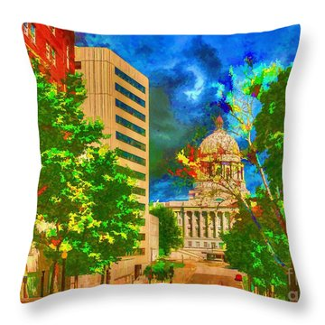 Capital - Jefferson City Missouri - Painting Throw Pillow by Liane Wright