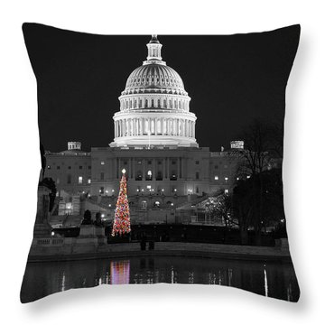 Throw Pillow featuring the photograph Capitol Christmas by Shawn O'Brien